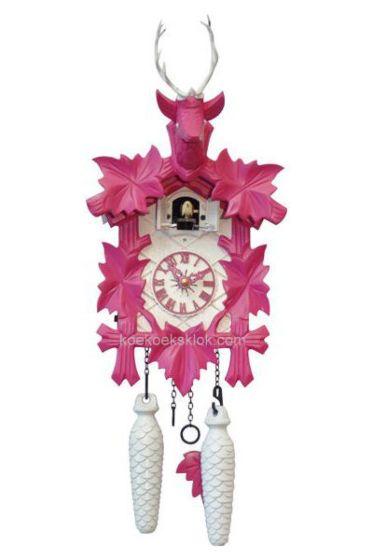 Moderne koekoeksklok roze-wit
